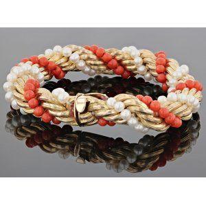 Jewelry - Vintage14K Gold Coral Pearl Twist Bracelet 1950'S